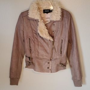 Miss Me tan moto jacket w faux fur S